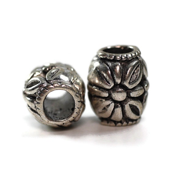 2 pack Daisy Dread Bead - 5mm bead hole - Large Hole Beads for Jewelry, Hair, Braids, Dreadlocks, & Beards -