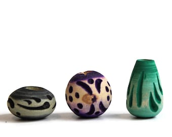 3 pack Wood, dread or beard beads, 7mm bead hole for Small size dreads, Stained and carved, Purple, Green and Gray, Wood Beads #018, W35