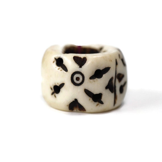 Bone Dread Bead - 12mm bead holes and under - Large hole Bead for dreadlocks or chunky hemp jewelry bead, #482