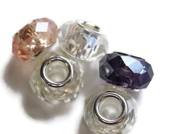 Spring Dreadlock Bead Set // 5 beads - 6mm Beads Hole // Glass Dread Beads, Hair Beads, Loc Jewelry, Dread Jewelry, Large Hole Beads, 575