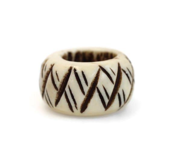 Bone Dread Beads - 14 mm bead holes - Circle and Stripe, Large hole Beads for dreadlocks or chunky hemp jewelry beads #599