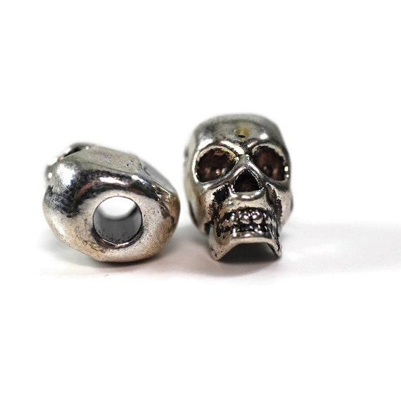 2 pack Metal Skull Dread Beads, 5mm bead hole, Dread lock Bead, Dread Jewelry, Dread Accessories, Gothic Dread Beads