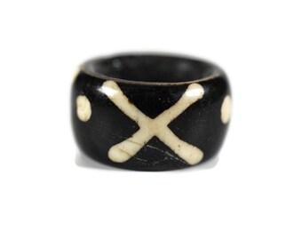 Batik Bone Dread Bead // 6 - 12mm Bead Holes // Dreadlock Beads, Dread Jewelry, Dread Accessories, Large Hole Beads, Hair Beads, B01