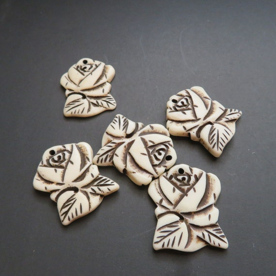5 Rose Carved Bone Pendants and Beads - 5 piece package, Hemp Jewelry Supplies, Jewelry making
