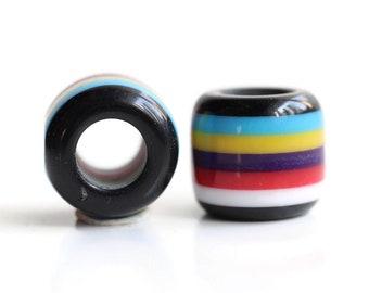 2 Prime Rainbow Acrylic Dread Beads - 6mm Bead Hole - Rainbow Dread Bead, Rainbow Dreadlock Bead, Dread Jewelry, Dread Accessories, 4E003