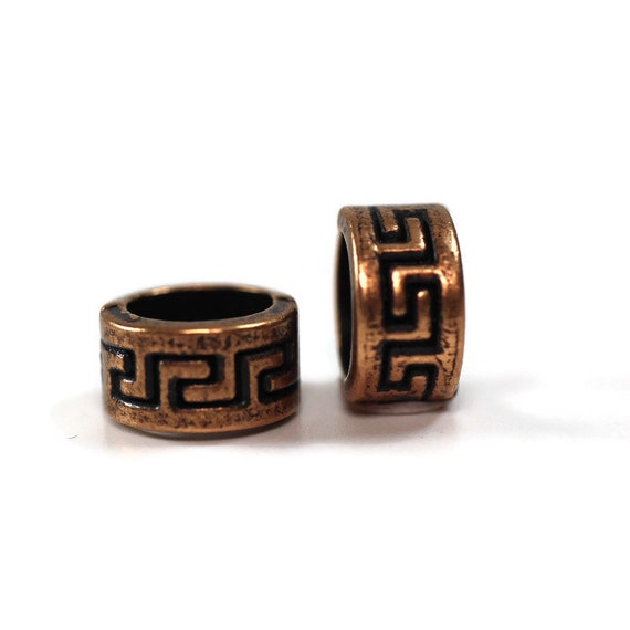 "Metal Celtic Dreadlock Beads // 5mm Bead Hole - 2 pack ""copper"" // Viking Beard Beads, Hair beads, Loc Jewelry"