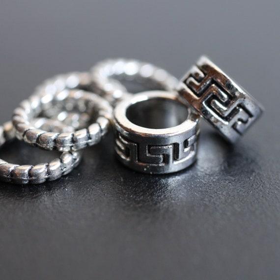 "6 pack ""silver"" Metal Celtic dread lock beads or viking beard beads 5mm bead hole, 4E001"
