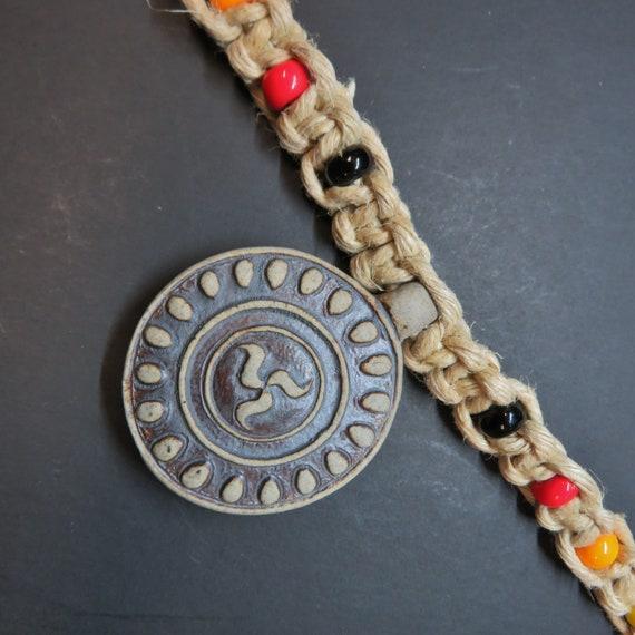 Hemp Necklace - with glass accent beads - Boho, Hemp Jewelry