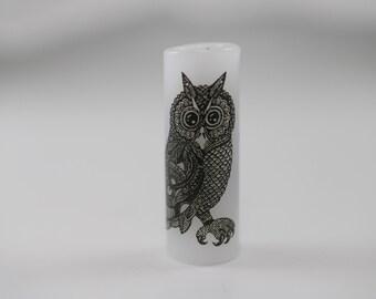 Vintage Owl Dread Bead - White - 8 mm bead hole - Glass Dreadlock Bead, Lampworked Bead, Loc bead, Loc Accessories, Dread Jewelry