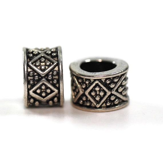 2 pack Diamond Pattern Dread Bead - 5mm bead hole - Large Hole Beads for Jewelry, Hair, Braids, Dreadlocks, & Beards, 4e001