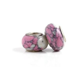 2 Pink Ceramic & Sterling Silver Dread Beads - 5mm bead hole - Dreadlock Bead, Dread Accessories, Dread Lock Beads, Large Hole Bead, 4D033