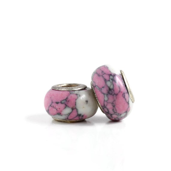 2 Pink Ceramic & Sterling Silver Dread Beads - 5mm bead hole - Dreadlock Bead, Dread Accessories, Dread Lock Beads, Large Hole Bead, 4D033