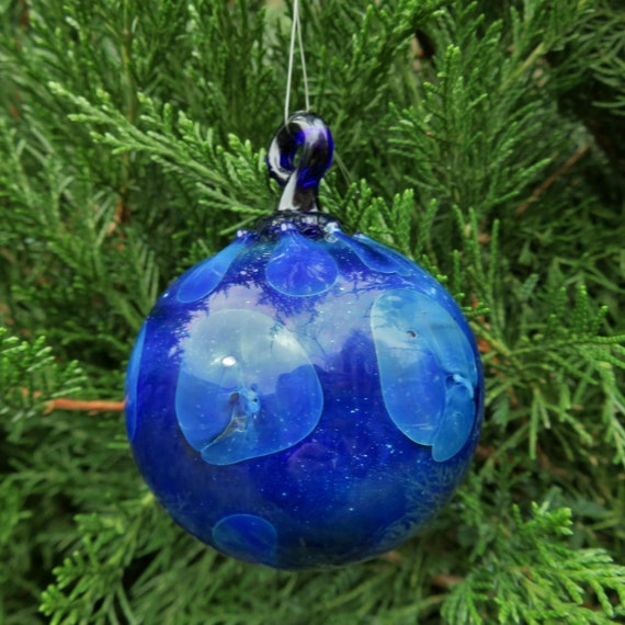 Glass Ball w/ SIlver - Cobalt w/ silver Dots - Hand blown glass ball ornament, Holiday decoration Hand Blown Glass Christmas Ornament