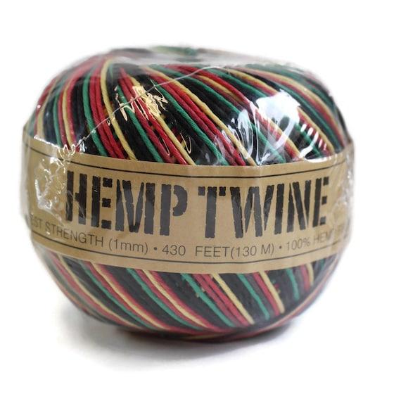 Hemp twine Rasta 1mm 20lb test strength, Hemp Jewelry Supplies, Jewelry making, garden twine