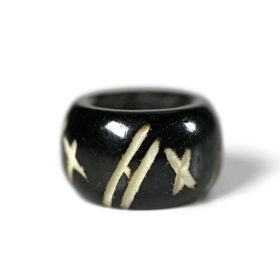 Star and Stripe Bone Dread Bead // 10mm Bead Holes // Dreadlock Beads, Dread Jewelry, Dread Accessories, Large Hole Beads, Hair Beads, 4D004