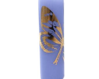Golden Butterfly Dread Bead - Blue - 8 mm bead hole - Glass Dreadlock Bead, Lampworked Bead, Loc bead, Loc Accessories, Dread Jewelry