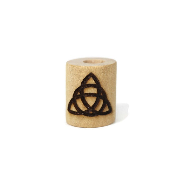 Celtic Trinity Knot Wood Dread Bead // 6 - 8 mm Bead Hole // Dreadlock Bead, Loc Jewelry, Dreadlock Accessories, Dread Jewelry