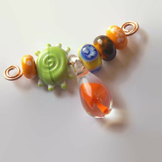 Orange Mushroom Pendant & Glass Accent Bead Set  - Glass Beads for Jewelry making - Large Hole Beads for Hemp Jewelry