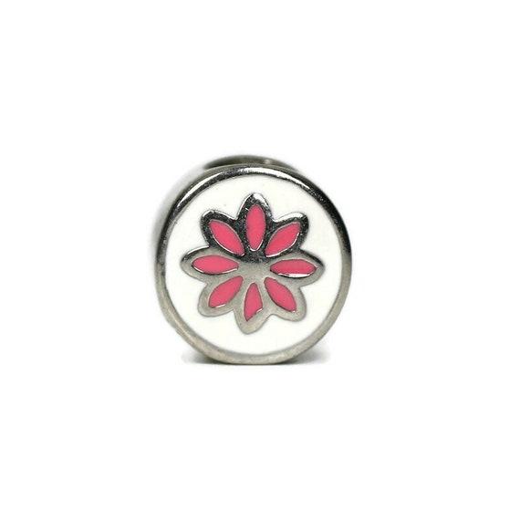 Pink Flower Dread Bead, 5mm Bead Hole, Large hole Bead, Dreadlocks beads, Metal Dreadlock Bead, 4E001