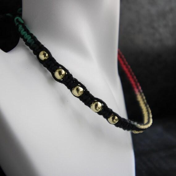 Rasta Ombre Hemp Necklace with Brass Accent Beads - Adjustable length Hippy Necklace - 100% Hemp Jewelry - Festival Jewelry