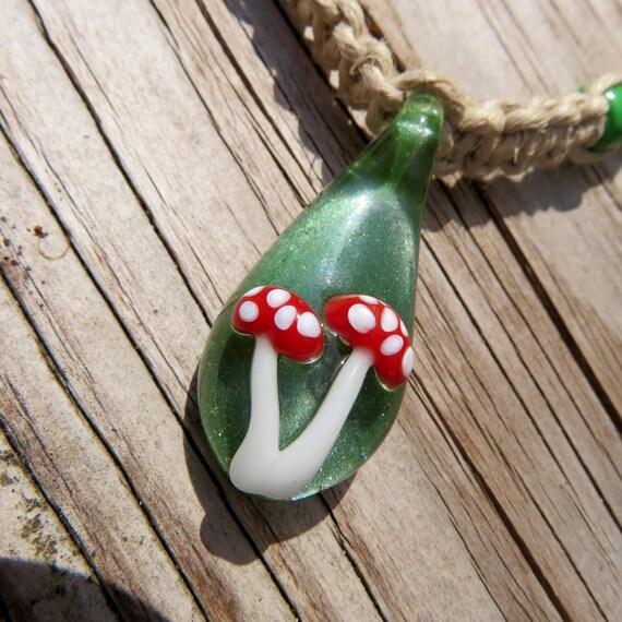 Amanita Mushrooms on Green Moss Background - Hand Blown Glass Mushroom Pendant Hemp Necklace