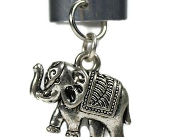 Elephant Charm Dreadlock Bead - 10 mm bead hole - Metal Dread Bead, Dreadlock Accessories, Hair Jewelry, Loc Beads, Dread Cuff, 5B001