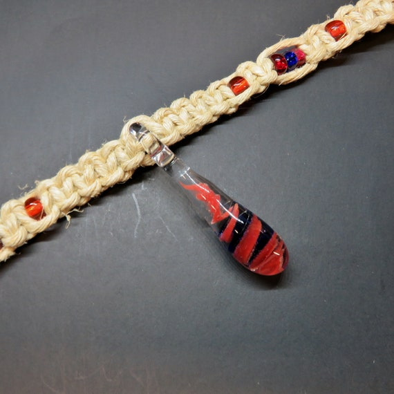 Swirling Smoke Hemp Necklace - Red & Cobalt Blue - Hand Blown Glass Pendant - Pink - Festival Jewelry, Hippy, Boho, Surfer, Hemp Jewelry,