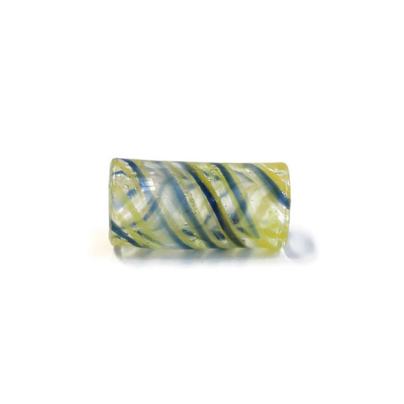 Twist Dread Bead - 8 mm bead holes - Yellow and Blue, Hand Blown Glass Dread Bead - Dreadlock Accessories - Loc Jewelry