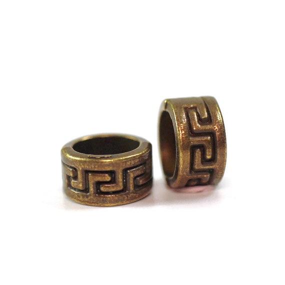 "2 pack ""gold"" Metal Celtic dread lock beads or viking beard beads 5mm bead hole"