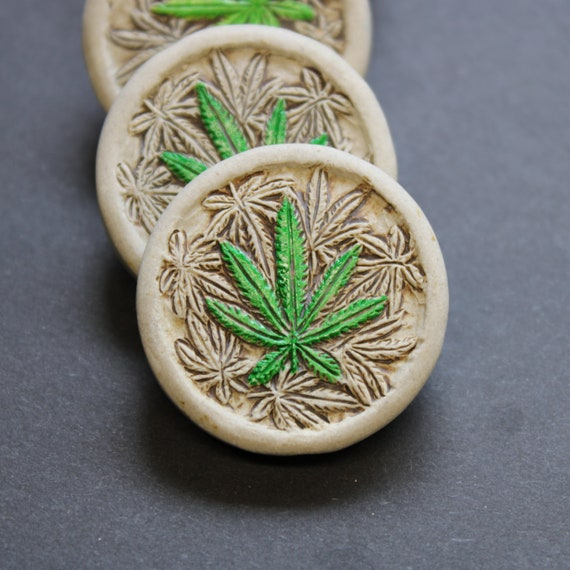 Pot Leaf, colored leaf, Ceramic Pendant - Hand Painted -  Bead Only or Have it put on a Hemp Necklace - Marijuana Leaf Bead
