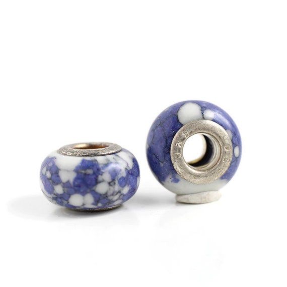 2 Purple Ceramic & Sterling Silver Dread Beads - 5mm bead hole - Dreadlock Bead, Dread Accessories, Dread Lock Beads, Large Hole Bead, 4D033