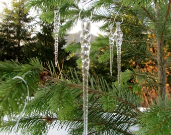 3 Pack / Crystal Clear Glass Icicles / Hand Made Glass icicles, Icicle tree Decoration, Icicle ornaments, Icicles, Icicle Decor, Icicle Poem