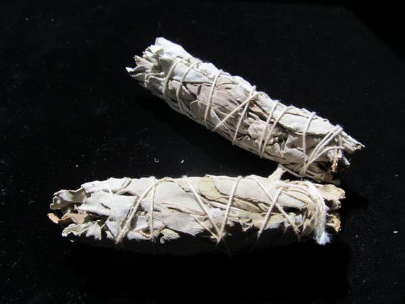 Two - 3 inch bundles of White sage, California White sage, Smudge Sticks, Cleansing rooms of negative energy