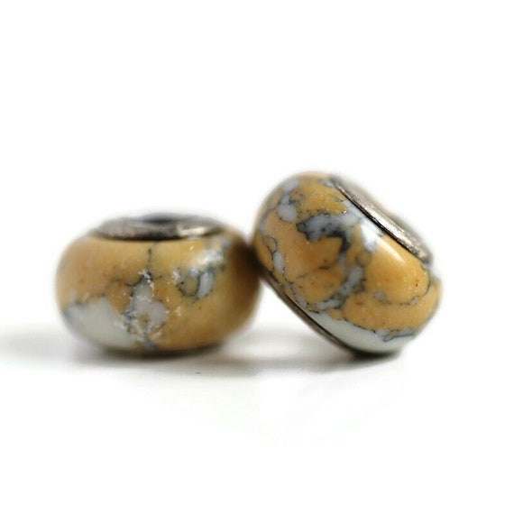 2 Yellow Ceramic & Sterling Silver Dread Beads - 5mm bead hole - Dreadlock Bead, Dread Accessories, Dread Lock Beads, Large Hole Bead, 4D034