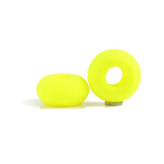 2 Neon Yellow Dreadlock Beads / 6mm ID Beads Hole / Glow Dread Beads, UV Dreadlocks, Hair Beads, Loc Accessories, Dread Jewelry, 4D035