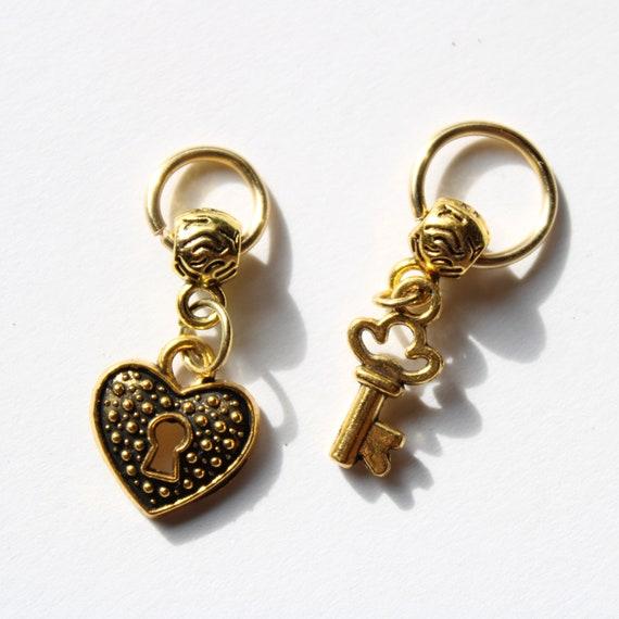 Heart Lock and Key Dread Bead Set - 10 mm bead hole - Dreadlock Beads, Dreadlock Accessories, Hair Jewelry, Loc Beads