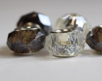 Smokey Dreadlock Beads // Set of 5 beads - 6mm ID beads hole // Glass Dread Beads, Hair Beads, Loc Jewelry, Dread Jewelry, 576