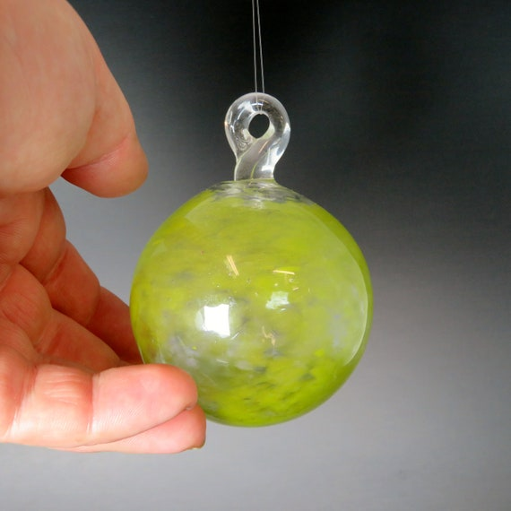 Glass Ball Frit Ornament - Peridot Green - Hand Blown Glass Christmas Ornament, Glass Christmas Tree Decorations, Blown Glass Float