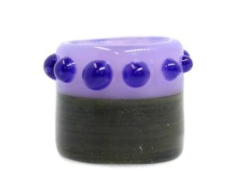 Half & Half, Purple w/ Green Sparkle - 15mm bead hole - Hand Blown Glass Dreadlock Bead for Dreads, Locs, Braids, Hair Accessories