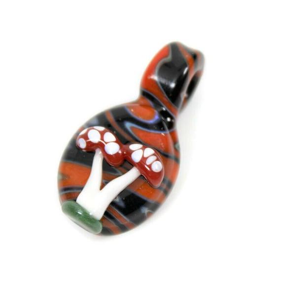 Glass Mushroom Pendant or Mushroom Necklace, Mushroom Jewelry with Orange Wig-Wag Background, Customizable Hemp Necklace Option
