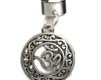 Filigree Om Dread Bead // 6 to 12mm Bead Hole // Metal Dread Bead, Dreadlock Accessories, Loc Bead Coil, Loc Beads, Dread Cuff, 5B001
