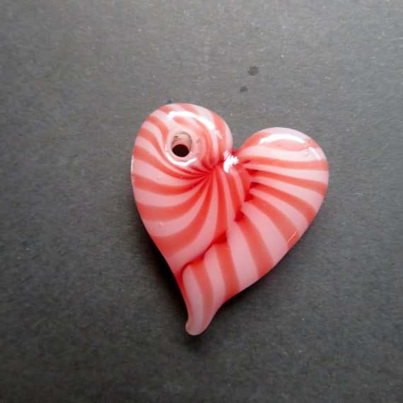 "Glass Heart Pendant Necklace - Candy Stripe - 20"" Cord with Silver Plated Clasp - Glass Heart Necklace, Lampworked Glass Jewelry"