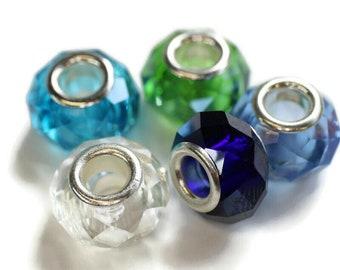 Cool Dreadlock Beads // Set of 5 beads - 6mm ID beads hole // Glass Dread Beads, Hair Beads, Loc Jewelry, Dread Jewelry, 577