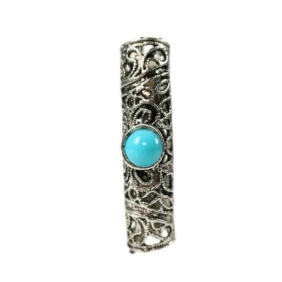 Blue cabachon Dreadlock Bead - 8mm bead hole - Large Hole Beads for Jewelry, Flower dread bead, Hair, Braids, Dreadlocks, 4e008