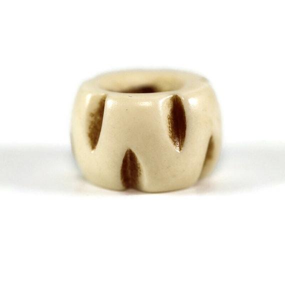 Notched Bone Dread Bead // 6 - 12mm Bead Holes // Dreadlock Beads, Dread Jewelry, Dread Accessories, Large Hole Beads, Hair Beads, 4D008