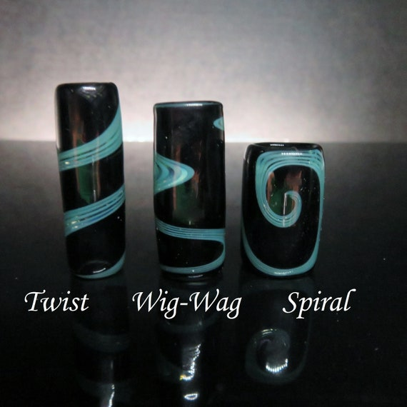 Glass Dread Bead - CUSTOM - Three Styles And 6 Sizes To Choose From // Spiral - Wig Wag - Twist //  Dreadlock Beads, Dread Beads, #12