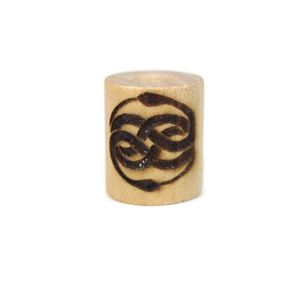 Never Ending Story Wood Dread Bead // 6 - 8 mm Bead Hole // Dreadlock Bead, Loc Jewelry, Dreadlock Accessories, Dread Jewelry