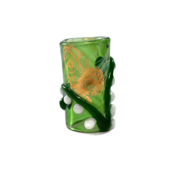 Golden Butterfly on Flower - 8 mm bead hole - Glass Dread Beads for Dreadlocks, Lampworked Bead, Loc bead, Loc Accessories, Dread Jewelry