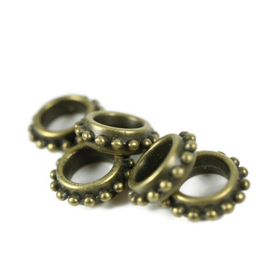 5 Antique Gold Stackable Dreadlock Bead - 7mm bead hole - Large Hole Beads for Jewelry, Flower dread bead, Hair, Braids, Dreadlocks, 4D064