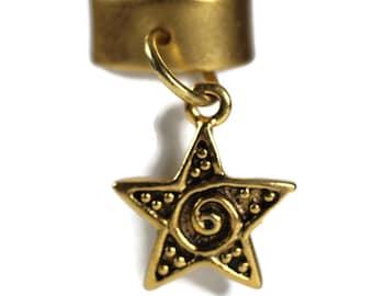 Gold Star Charm Dreadlock Bead - 10 mm bead hole - Brass Dread Bead, Dreadlock Accessories, Hair Jewelry, Loc Beads, 5b003